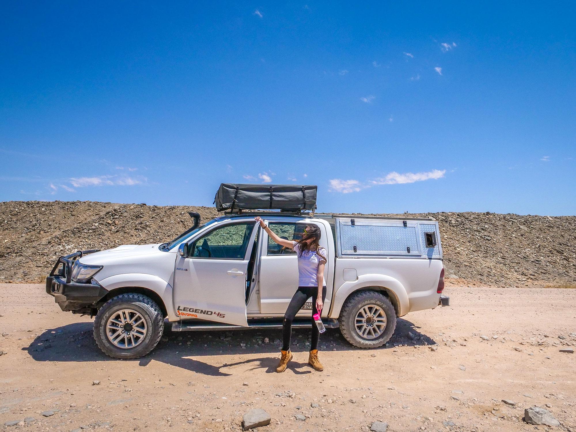 Ella and Toyota Hilux self-drive through the Namib Desert, Namibia, Africa